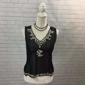 Sheer Black Beaded & Embroidered CAbi Camisole